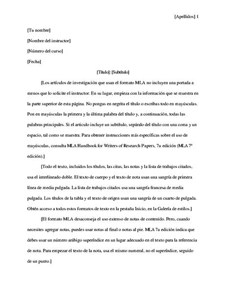 Artículo de investigación estilo MLA