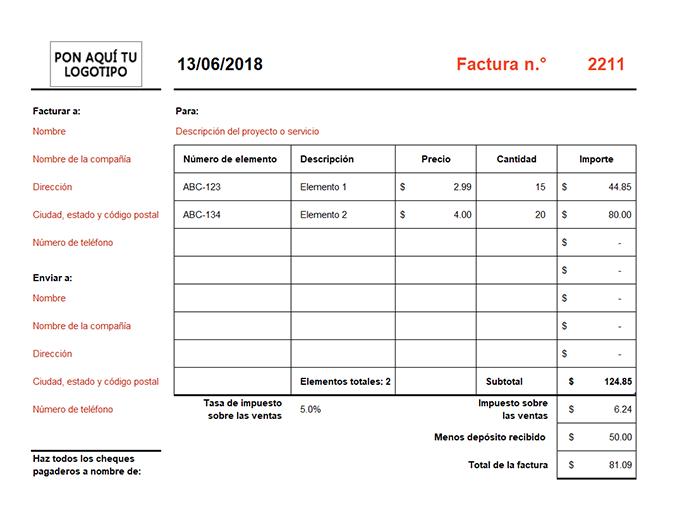 Factura que calcula el total (horizontal)