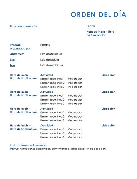 Orden del día de la reunión (formal)