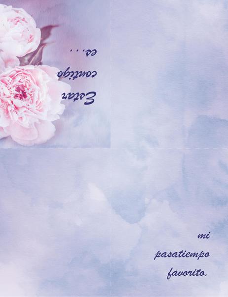 Carte romantique (avec rose, pliable en quatre)