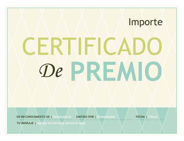 Certificado de entrega de premios (diseño de arlequín)