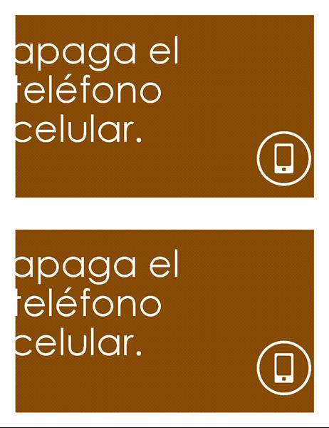 Cartel anti-teléfonos celulares (2 por página)