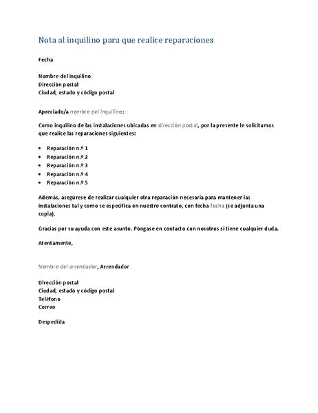 Notificación al inquilino para que realice reparaciones (carta modelo)