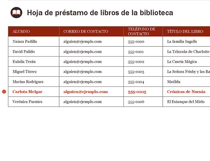 Hoja de préstamo de libros de la biblioteca