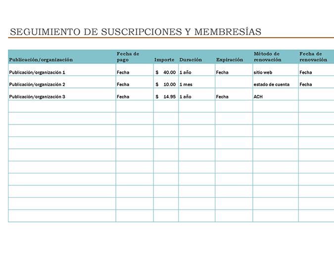 Seguimiento de suscripciones y membresías