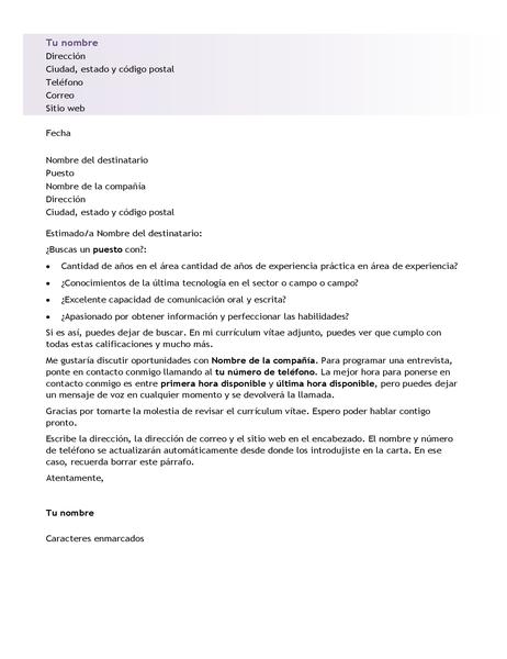 Carta de presentación para currículum vítae de nivel inicial