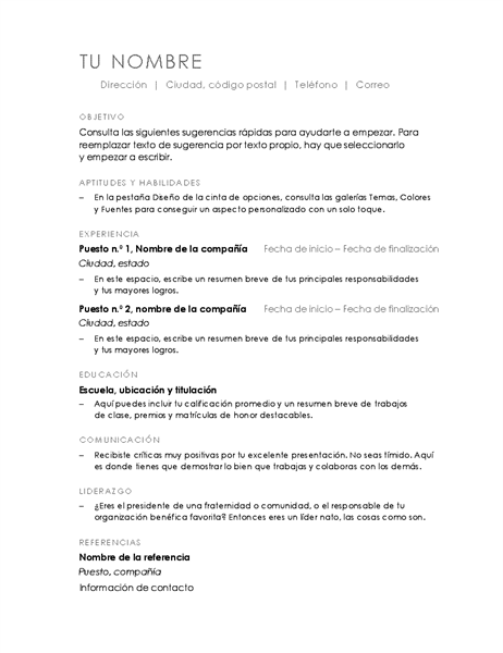 Currículum vítae (diseño minimalista)