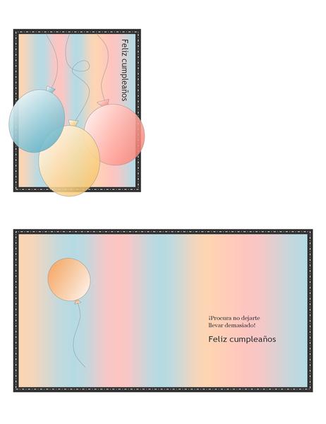 Tarjeta felicitación de cumpleaños (con globos y rayas, doblada en cuatro)