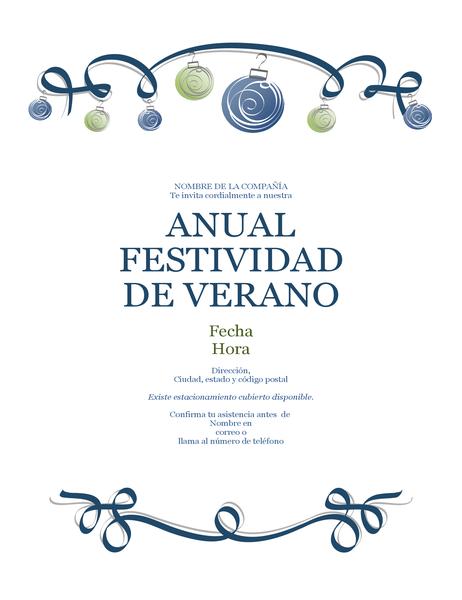 Folleto de fiesta de vacaciones con adornos y cinta azul (diseño formal)