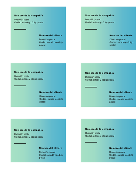 Etiquetas de envío (diseño con degradado verde, 6 por página, compatibles con Avery 5164)