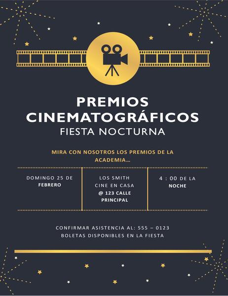 Invitación para fiesta de premios cinematográficos