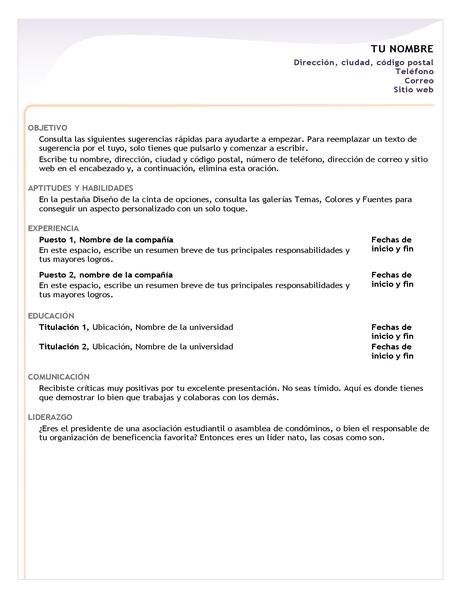 Currículum vítae de nivel inicial