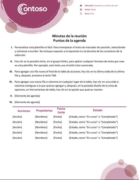 Minutas de la reunión del conjunto rosa