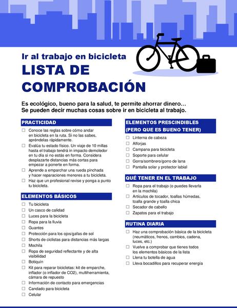 Lista de comprobación para ir a trabajar en bicicleta