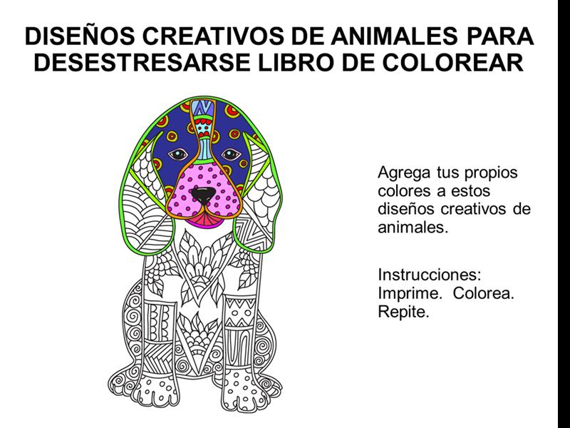 Libro para colorear y liberarse del estrés con diseños creativos de animales