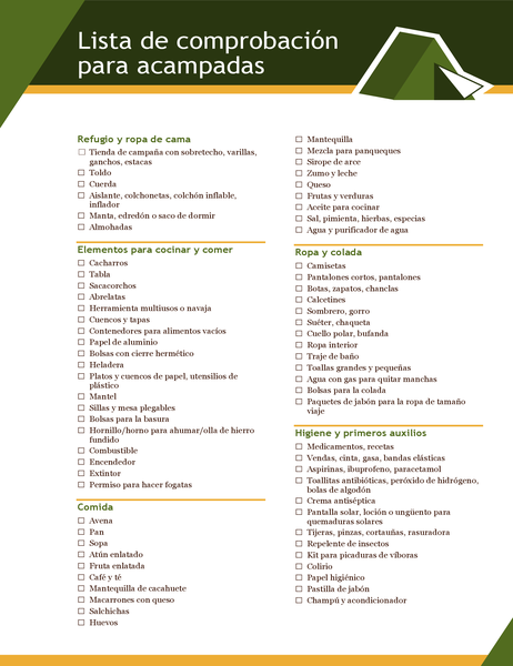 Lista de comprobación de acampada