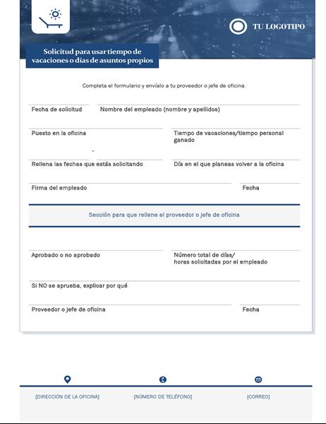 Formulario de solicitud de vacaciones para empleados de pequeñas empresas