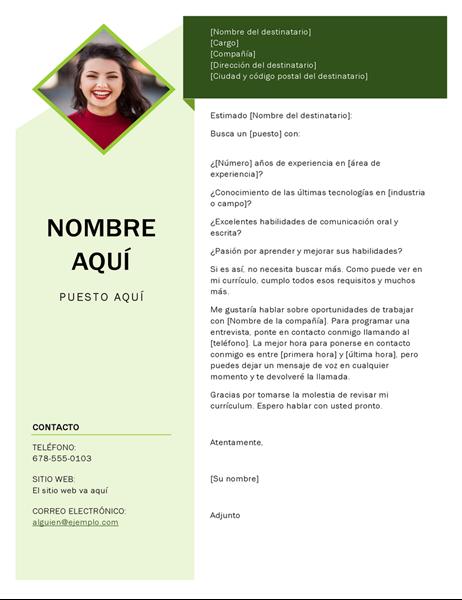 Carta de presentación de cubo verde