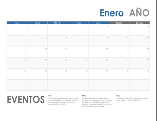 Calendario horizontal (inicio en domingo)
