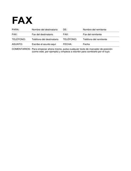 Portada de fax (formato estándar)