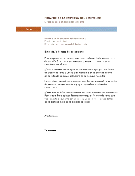 Carta de negocios (tema Mediana)