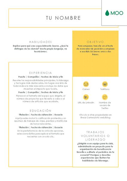Currículum vítae nítido y limpio diseñado por MOO