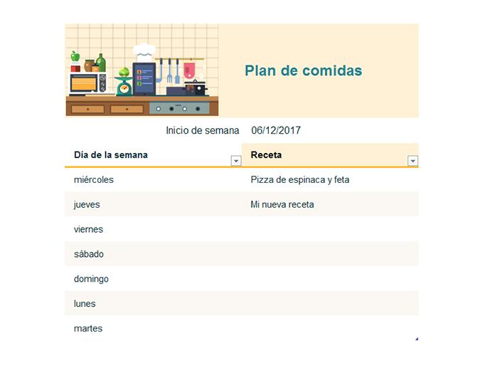 Plan semanal de comidas