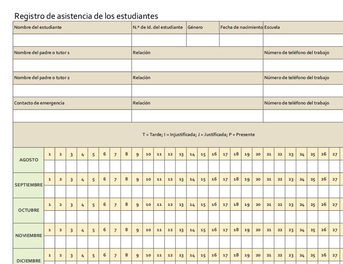 Registro de asistencia de los estudiantes (simple)