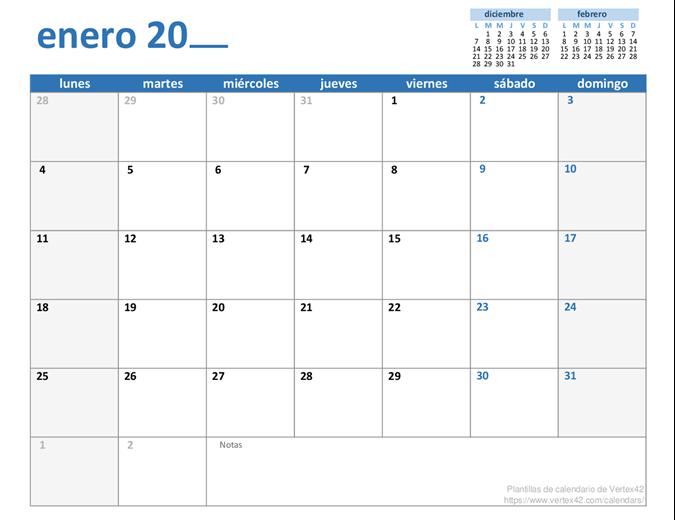 Calendario mensual para cualquier año