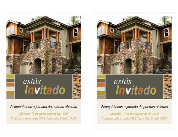 Invitación a un evento inmobiliario de puertas abiertas(2 por página)