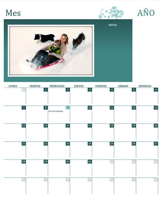 Calendario familiar estacional (cualquier año, de lunes a domingo)