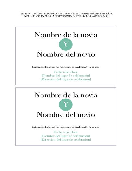 Invitaciones para bodas simples (2 por página)