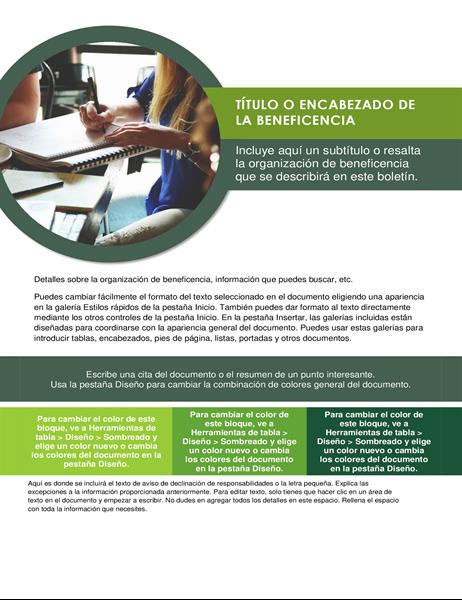 Boletín de organización de beneficencia