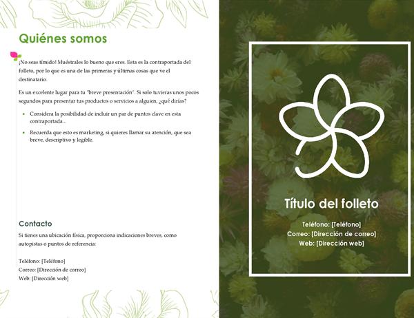 Folleto floral verde