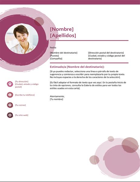 Carta de presentación de conjunto rosa