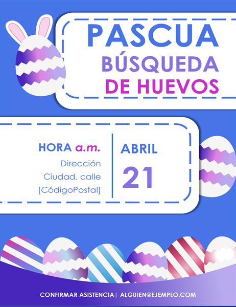 Folleto azul de búsqueda de huevos de Pascua
