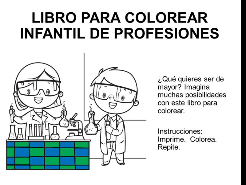 Libro infantil para colorear de las profesiones