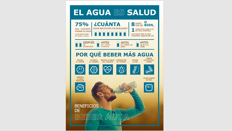 Póster infográfico sobre beber agua