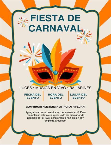 Prospecto de máscara de carnaval