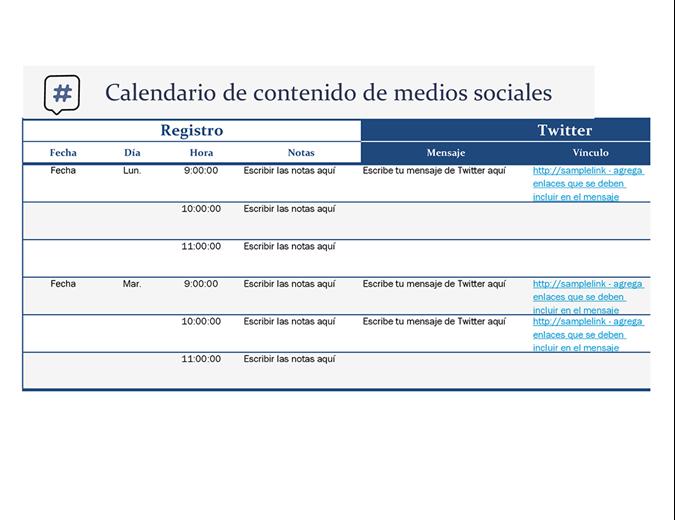 Calendario de contenido de medios sociales