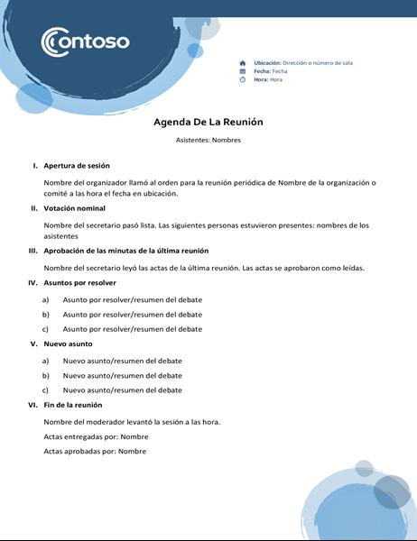 Agenda de esferas azules