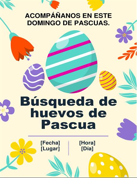 Folleto de búsqueda de huevos de Pascua de colores primaverales