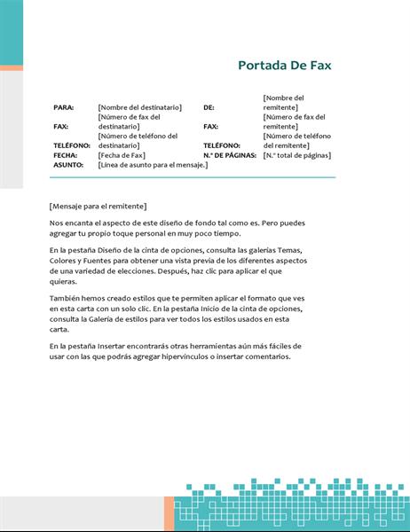 Portada de fax técnica minimalista