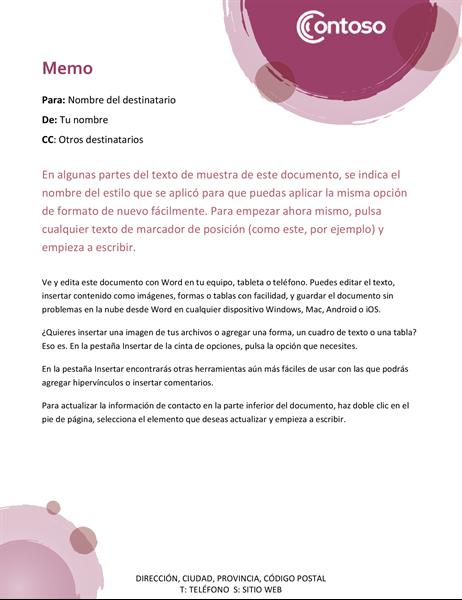 Memo del conjunto rosa