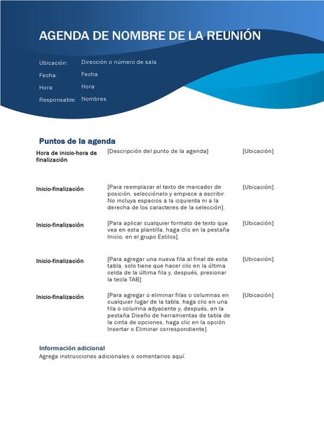 Agenda de reunión con un diseño ondulado de color azul