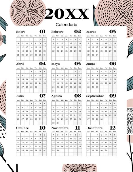 Calendario floral moderno