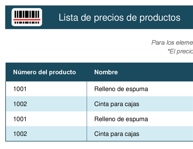 Lista de precios de productos