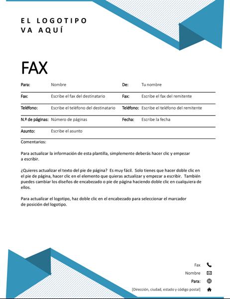 Portada de fax con diseño de rayas