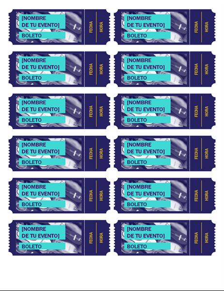 Boletos azules para el evento
