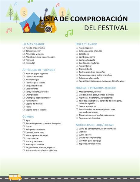 Lista de comprobación para el festival